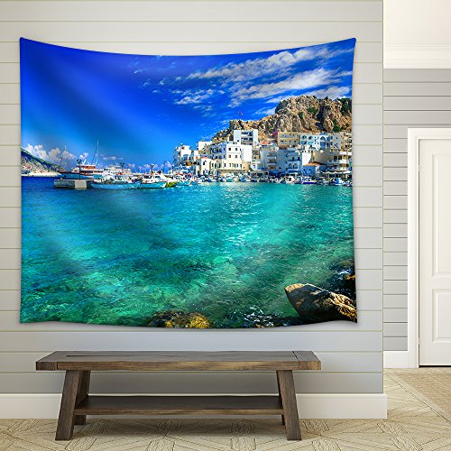 Beautiful Islands of Greece Karpathos Pigadia Fabric Wall Tapestry