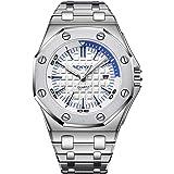 Men's Watch Date Analog Stainless Steel Waterproof Unique Dress Business Casual Wrist Watch Calendar Watches