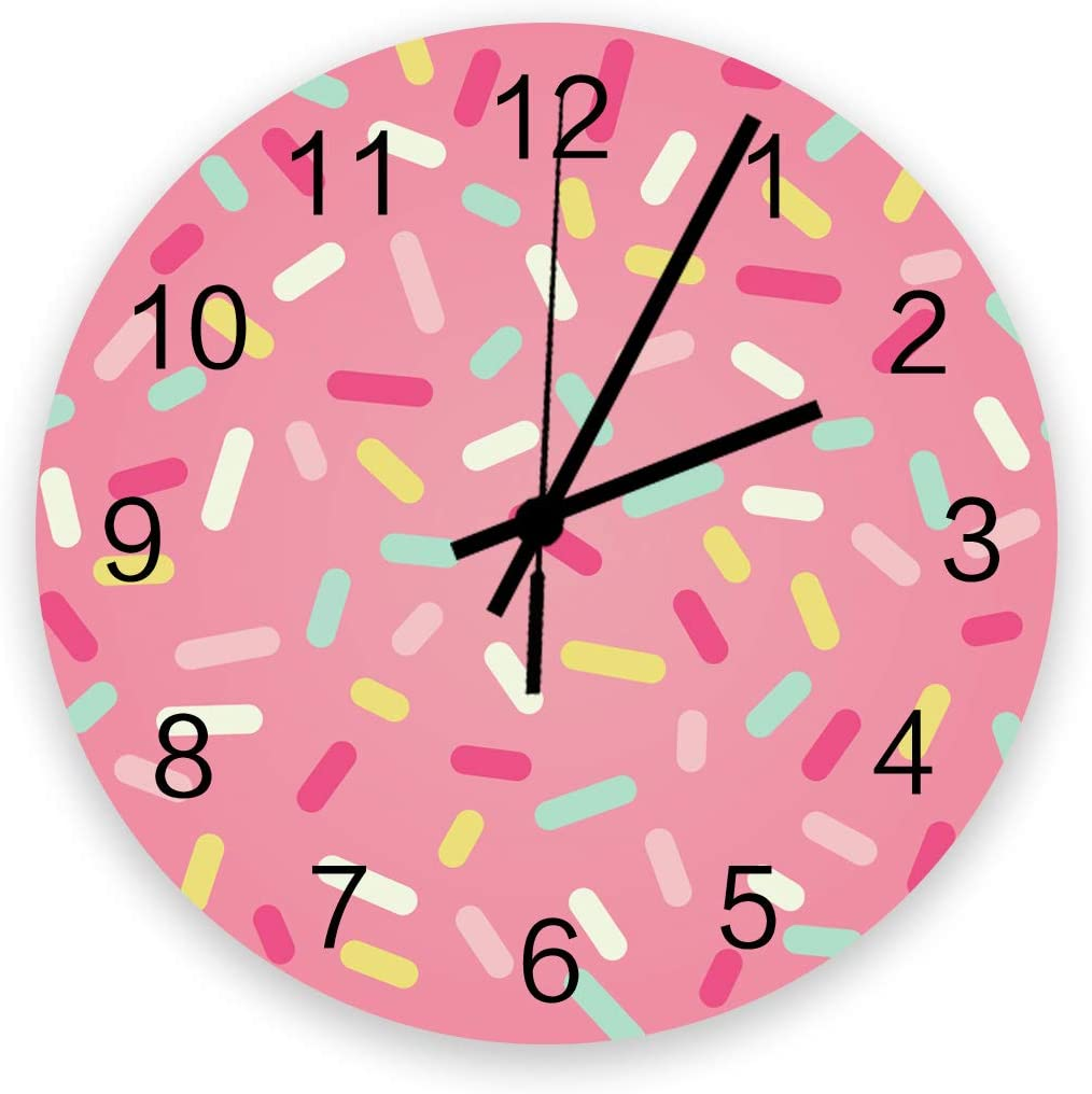Wooden Round Wall Clock 12'' Silent Battery Operated Non Ticking Clock, Abstract Pattern of Colorful Donut Sprinkles Sweet Tasty Food Bakery Theme Noiseless Office Kitchen Bedroom Wall Clock