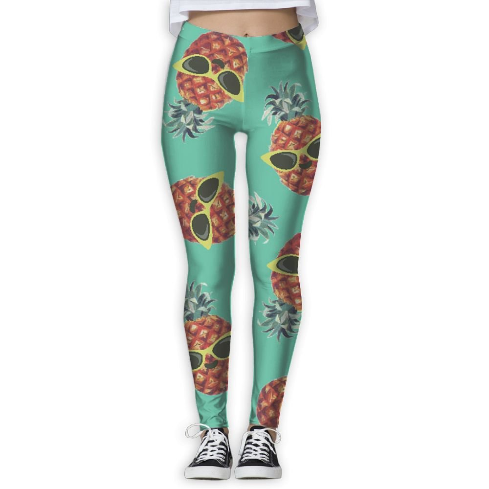 XIELIAN Pineapple with Glasses Pants Yoga Workout Fitness Capris Leggings for Women Girls Small