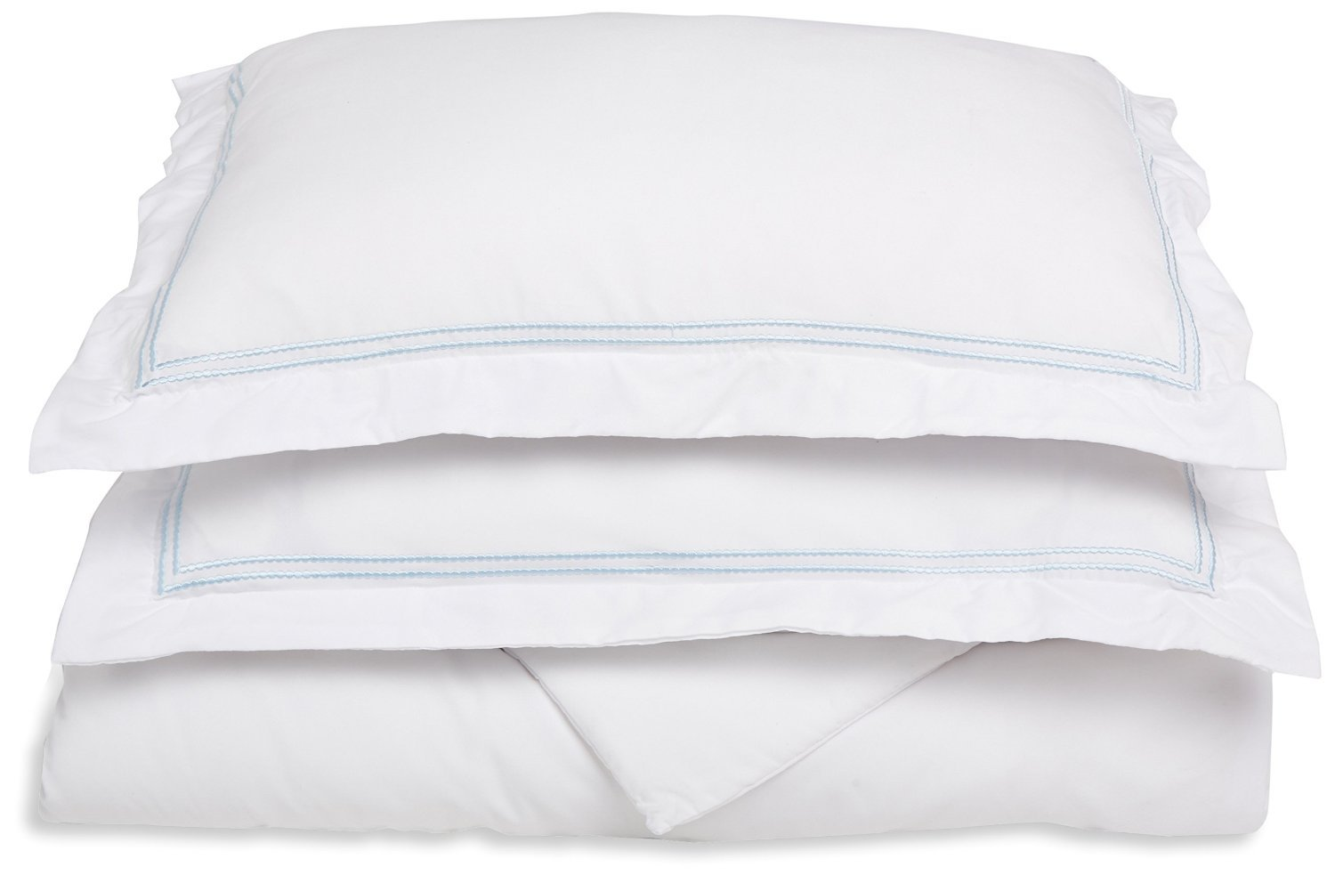 Super Soft, Light Weight, 100% Brushed Microfiber, King/California King, Wrinkle Resistant, White Duvet Cover with Blue 2-Line Embroidered Pillowshams in Gift Box