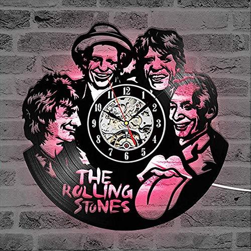 WCZZH The Rolling Stone Band Orologio da Parete CD LED Registra Orologio Creativo Antico Orologio da Parete Wall Art Decor Hanging Orologio Regalo per Rolling Stone Fans