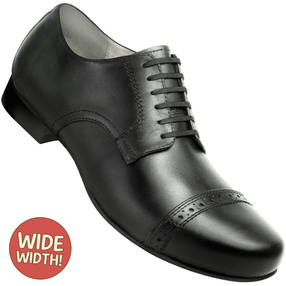 Aris Allen Men's 1930s Black Captoe Swing Dance Shoe: Wide (EEE Width)
