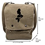 Grab A Smile Little Mermaid Cartoon Canvas Crossbody Travel Map Bag Case, Olive & Black For Sale
