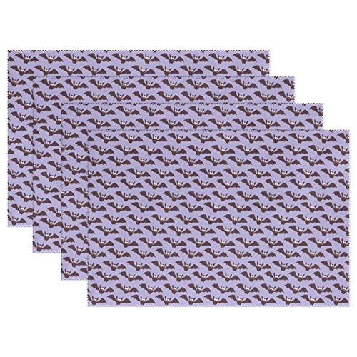JTMOVING Halloween Lilac Paper Pattern Holiday Autumn Placemats Set Of 4 Heat Insulation Stain Resistant For Dining Table Durable Non-slip Kitchen Table Place Mats ()
