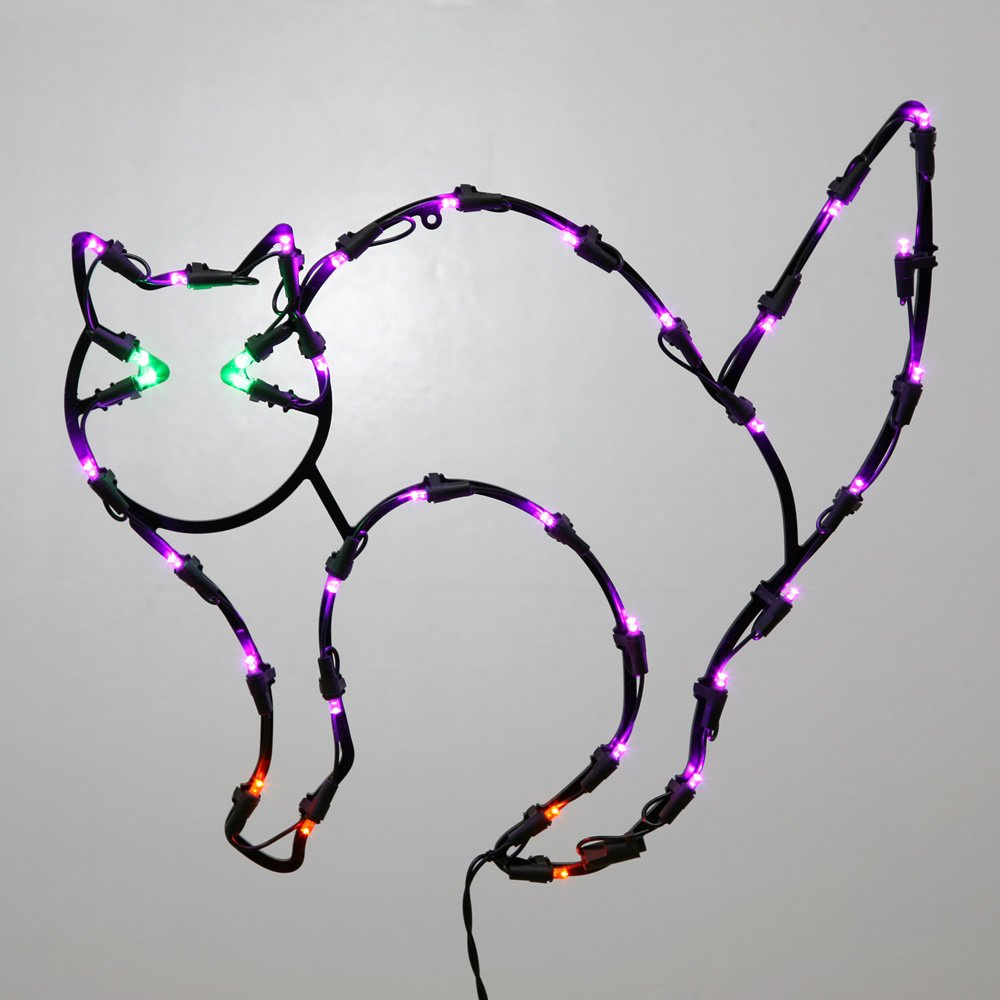 Vickerman 16'' Lighted LED Black Cat Halloween Window Silhouette Decoration