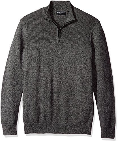 - Kenneth Cole New York Men's Solid & Marled 1/2 Zip Sweater, Black, Large
