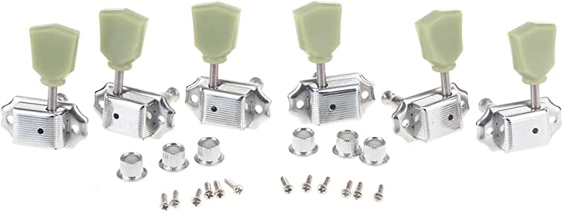 Musiclily 3R3L Vintage Guitar Tuners Machine Heads Tuning Keys Pegs Set for Les Paul Style,Chrome
