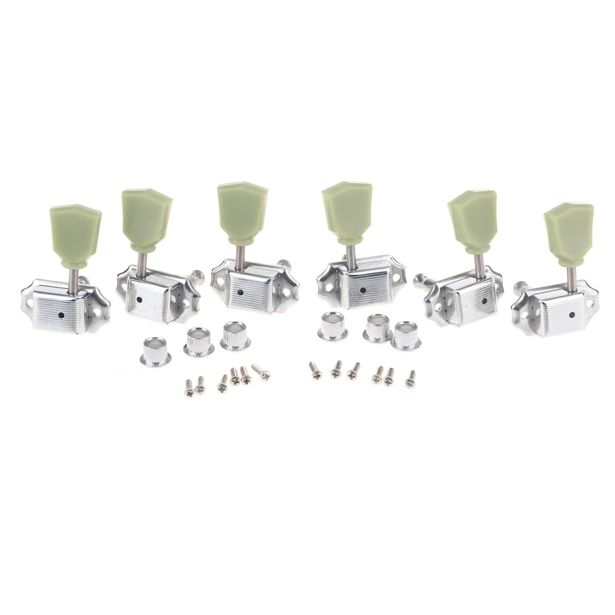 Musiclily 3R3L Vintage Guitar Tuners Machine Heads Tuning Keys Pegs Set for Gibson Les Paul LP Epiphone Guitar Parts, Chrome with Keystone Button