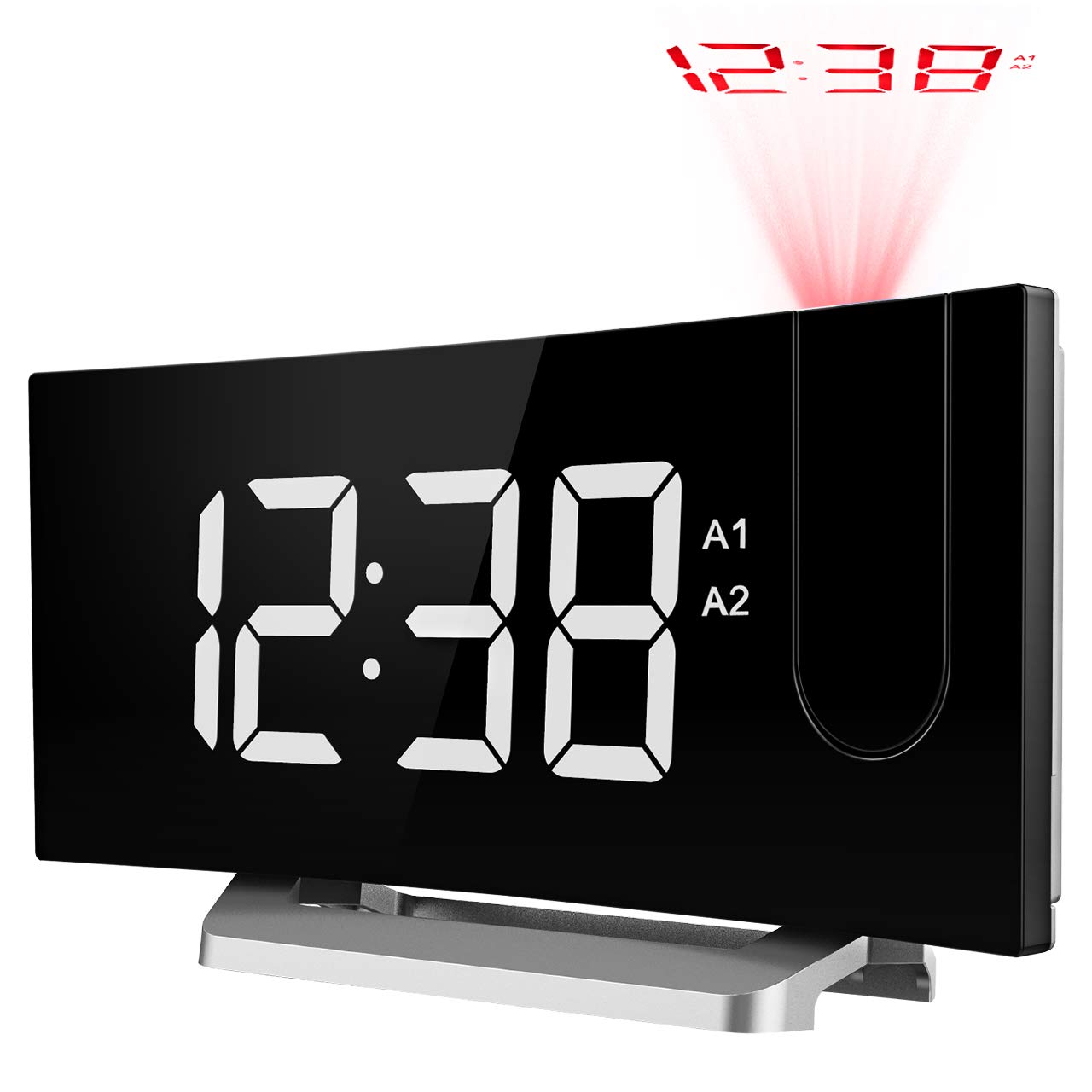TOPELEK Digital Projection Clock, FM Radio Alarm Clock with USB Charging Port, Dual Alarms, Snooze Function, [Curved-Screen] 5-inch Large LED Display with Dimmer, 12/24 Hours, Backup Battery-White