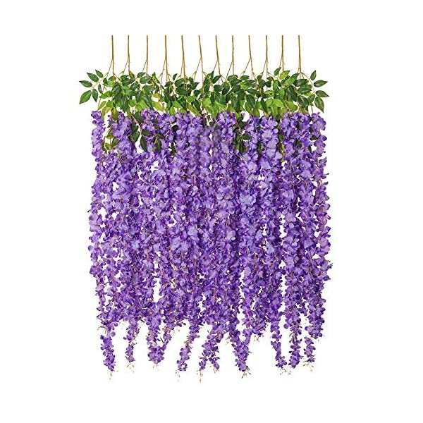 Luyue Wisteria Artificial Flowers 4 6ft Hanging Flowers Garland Vine For Wedding Party Home Decoration In Light Purple Silk Flower Arrangements