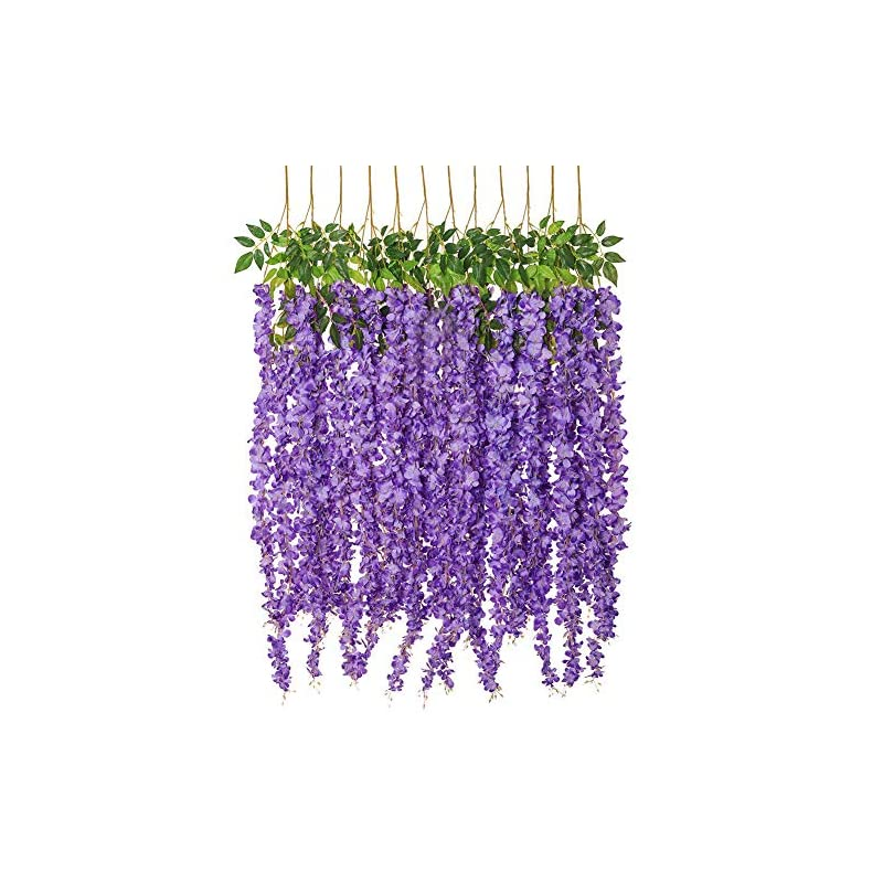 silk flower arrangements luyue wisteria artificial flowers 4.6ft hanging flowers garland vine for wedding party home decoration in light purple