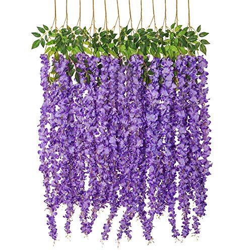 Luyue Wisteria Artificial Flowers 4.6ft Hanging Flowers Garland Vine for Wedding Party Home Decoration in Light Purple