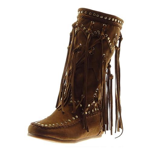 style limité Prix 50% invaincu x Angkorly - Chaussure Mode Botte Bottes Indiennes Cavalier Folk Femme Frange  clouté Talon Plat 5 CM