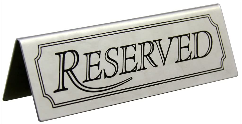 New Star Foodservice 26900 Stainless Steel Tent Sign (Reserved), 4.75