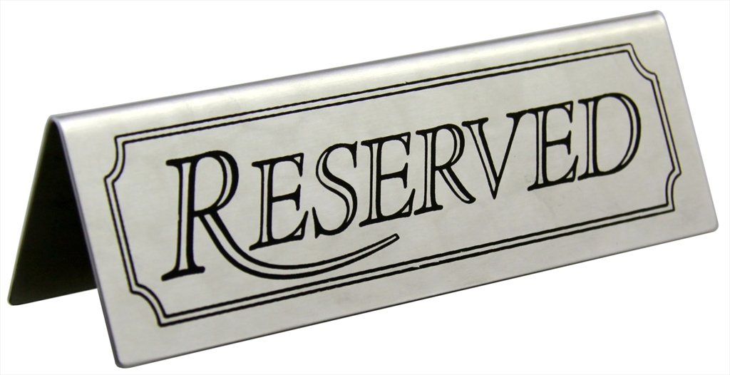 New Star Foodservice 26900 Stainless Steel Tent Sign (Reserved), 4.75''x 1.75'', Set of 6 by New Star Foodservice