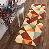 Cheap Well Woven Non-Skid/Slip Rubber Back Antibacterial 2×7 (2′ x 7′ Runner) Rug Lex Casual Multi Color Red Geometric Modern Thin Low Pile Machine Washable Indoor Outdoor Kitchen Hallway Entry