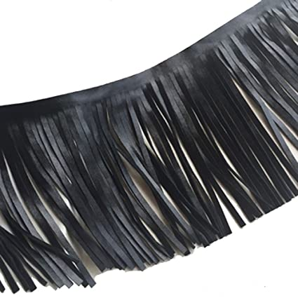 12 cm Wide 3 yards Brazil Leather Fringe Trims Faux Leather Tassel Trims Double Side for DIY Projects and Sewing Craft Supply4-3//4 or lot