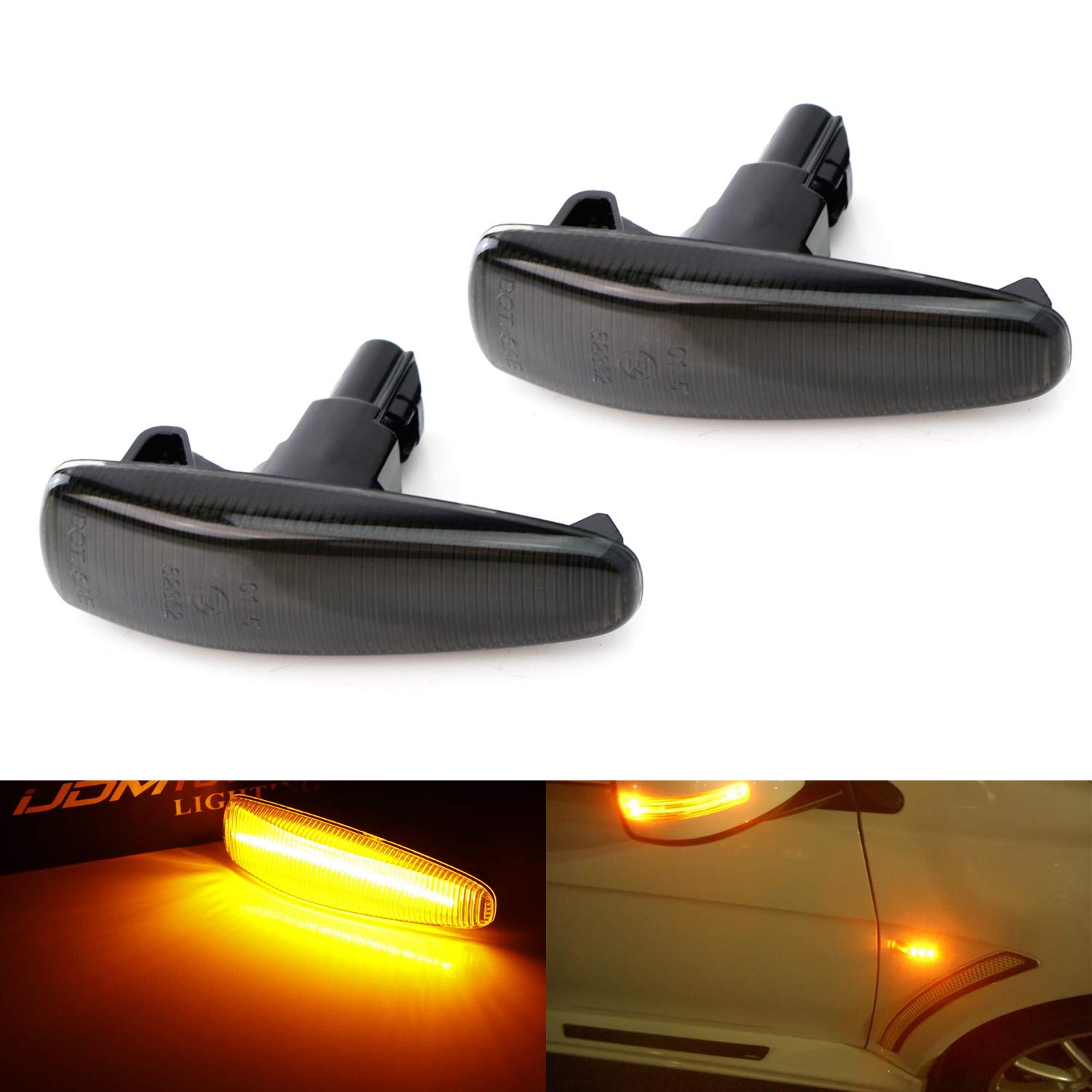 iJDMTOY Smoked Lens Amber Full LED Front Side Marker Lights For Mistubishi Lancer Evo X Mirage Outlander Sport, Powered by 36-SMD LED, Replace OEM Sidemarker Lamps iJDMTOY Auto Accessories Change Left/Right Original Lamp Assembly