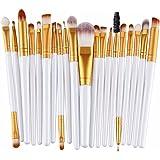 Leisial - Set di 20 pennelli da trucco, per applicazione di fondotinta, fard, trucco per le sopracciglia, gli occhi, colore: rosa e nero 19.5*2.0*0.5cm bianco + oro