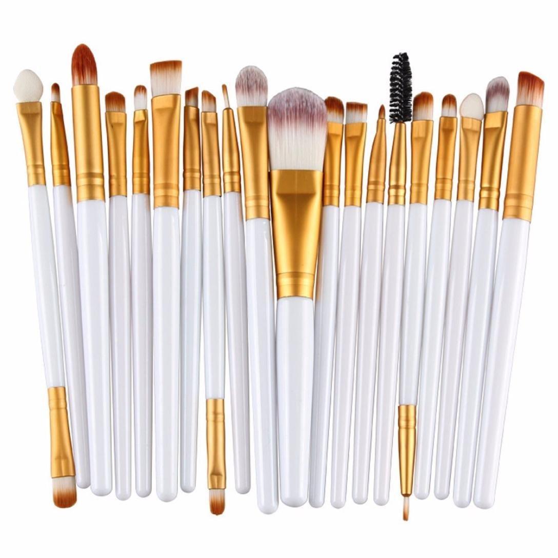 Fablcrew Set di Pennelli per Make up Professionale Pennelli per Trucco e Cosmetici 20 Pezzi Size 14, 5 x 10 x 1, 5 cm (Bianco+Nero)