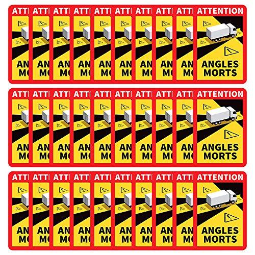 Gsanei Generic Angles Morts sur Les véhicules Lourds - Autocollant Waterproof -Stickers Angles Morts Poids Lourd Officiel adhésif pour Camion Autocollant-L.170 x H.256 (30PC)