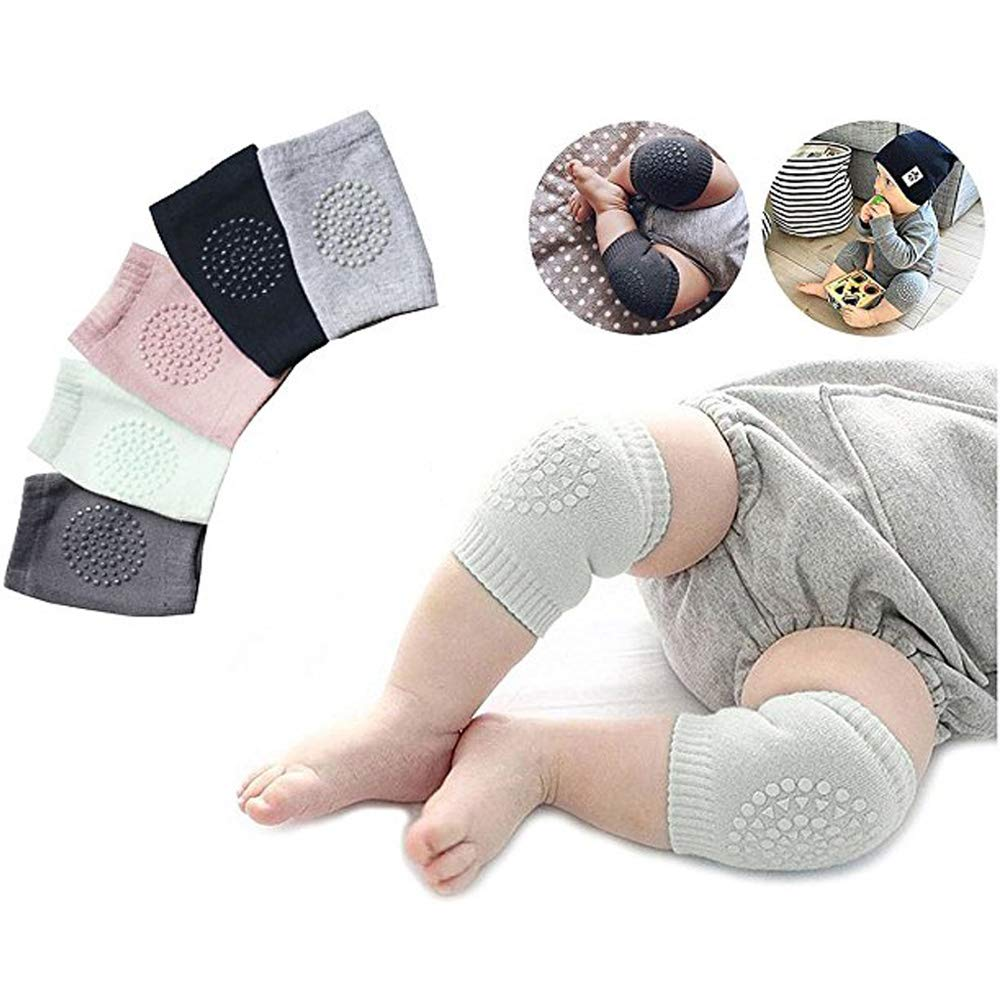 5 Pair Baby Knee Pads, Adjustable Anti Slip Crawling Knee Pads for Unisex Toddlers