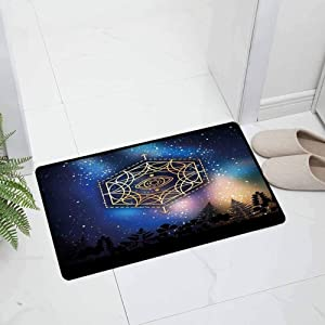 Sacred Geometry Indoor Outdoor Non Slip Door Mat All Weather Door Mats Hexagon Form with The Eye Icon in The Centre on Starry Night Mystic Durable, 35 x 23.5 inch Blue
