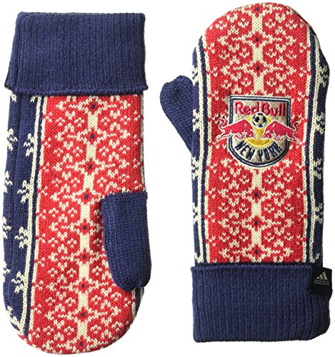 adidas MLS New York Red Bulls Adult Women Fair Isle Mitten, One Size, Navy/Red