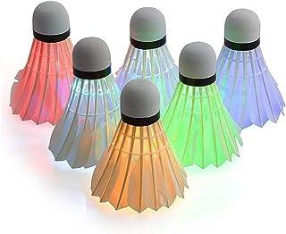 Lot de 6 volants de badminton Ycbingo LED - Volants LED avec éclairage nocturne - Pour sports d'intérieur et d'extérieur