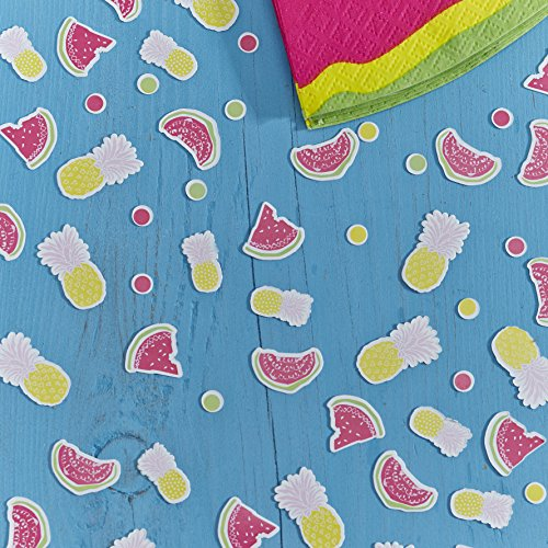 Ginger Ray SF-759 Summer Fruits Watermelon, Pineapple & Confetti Dots Party Table Confetti, Mixed, 14 g, Multicolor