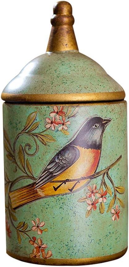 LINGS Urnas funerarias de cerámica para Cenizas humanas o Cenizas de Mascotas, urna funeraria Conmemorativa, patrón de Flores y pájaros,Verde