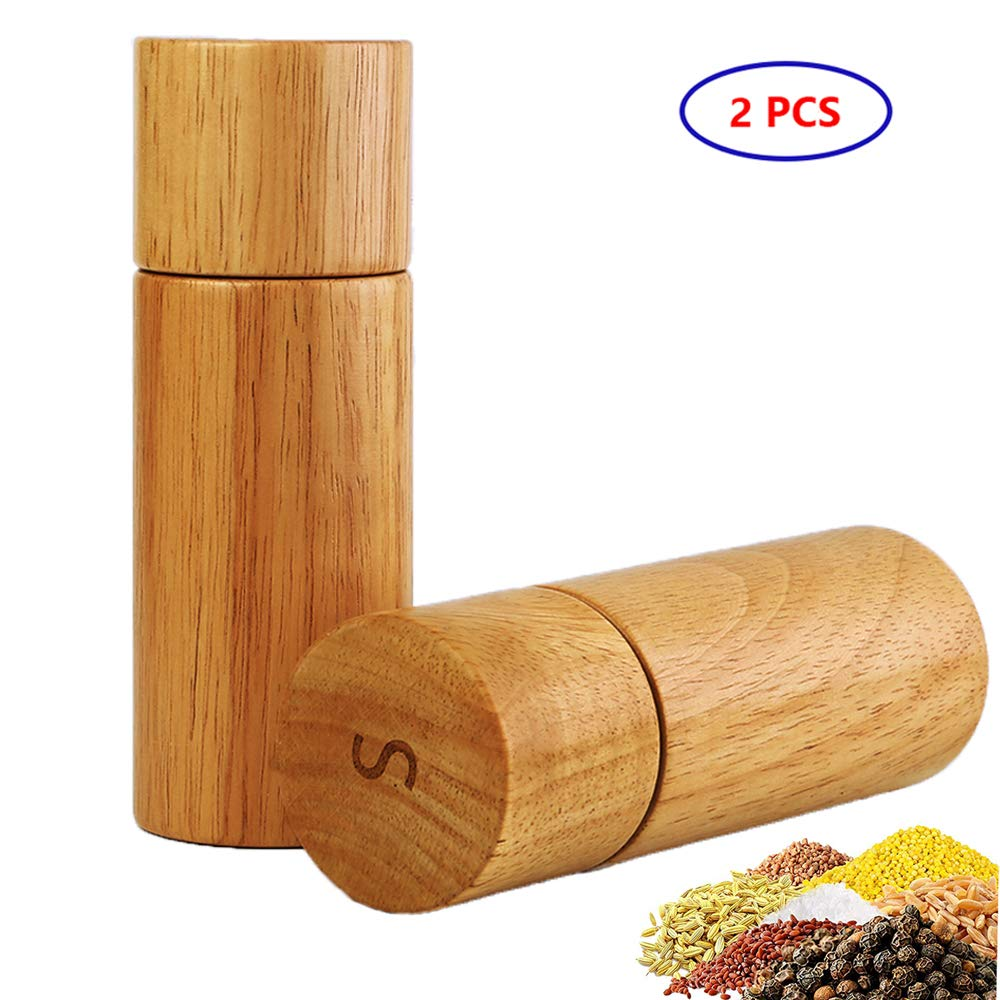 Wooden Salt and Pepper Grinder, Adjustable Manual Salt Grinder, Acacia Wood, Pepper Mill with Ceramic Core, Suitable for Picnic, Parties, Restaurant, Dinner, BBQ (6 In, 2 pcs) by GooDoi