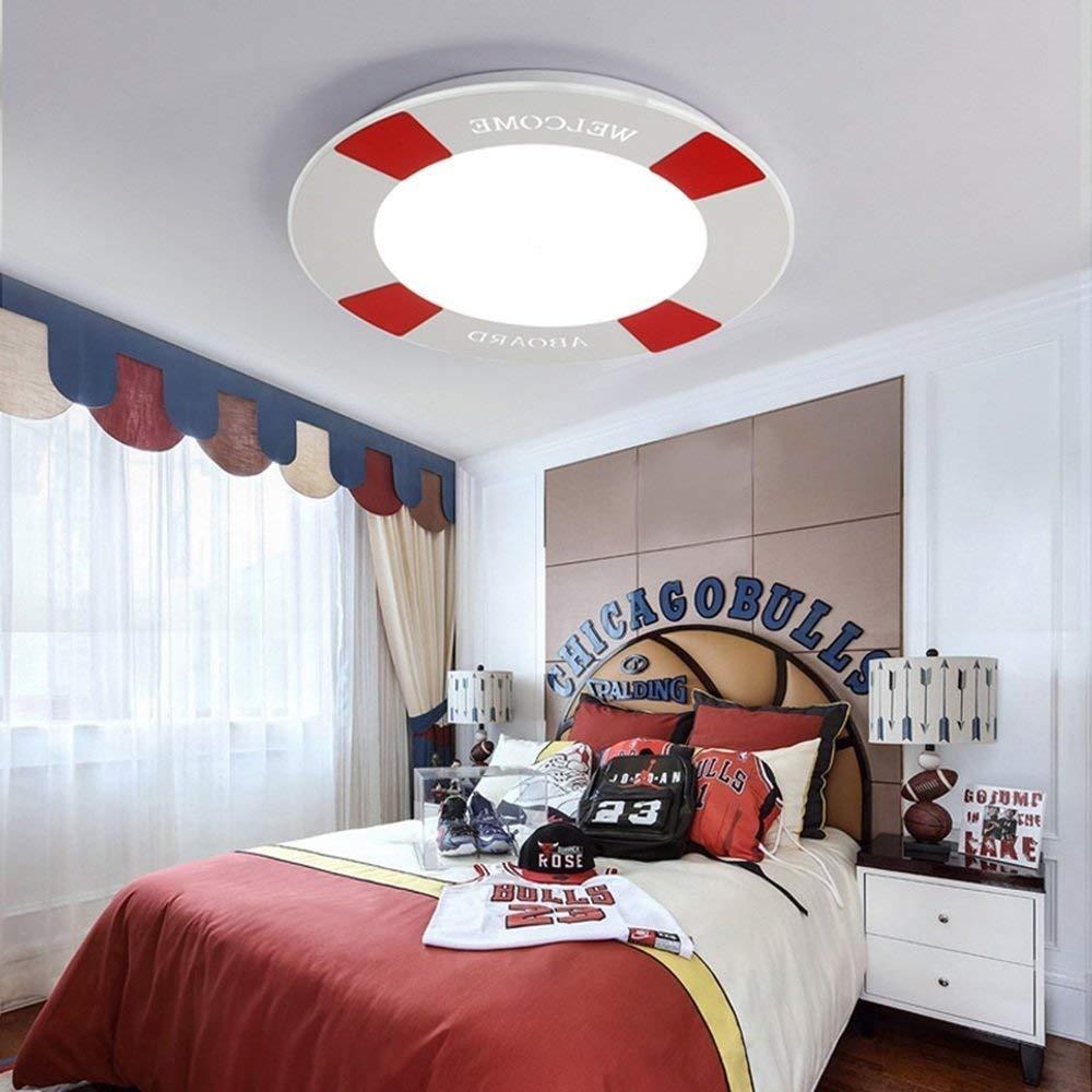 Fudingyeshen シーリングライト - シンプルモダンモダンクリエイティブキッズハウスボーイシーリングライトスタディルームベッドルームスイミングプール(地中海のシーリングライト) (Color : Red-promise Dimming-42cm)  Red-promise Dimming-42cm B07SDPPBR2