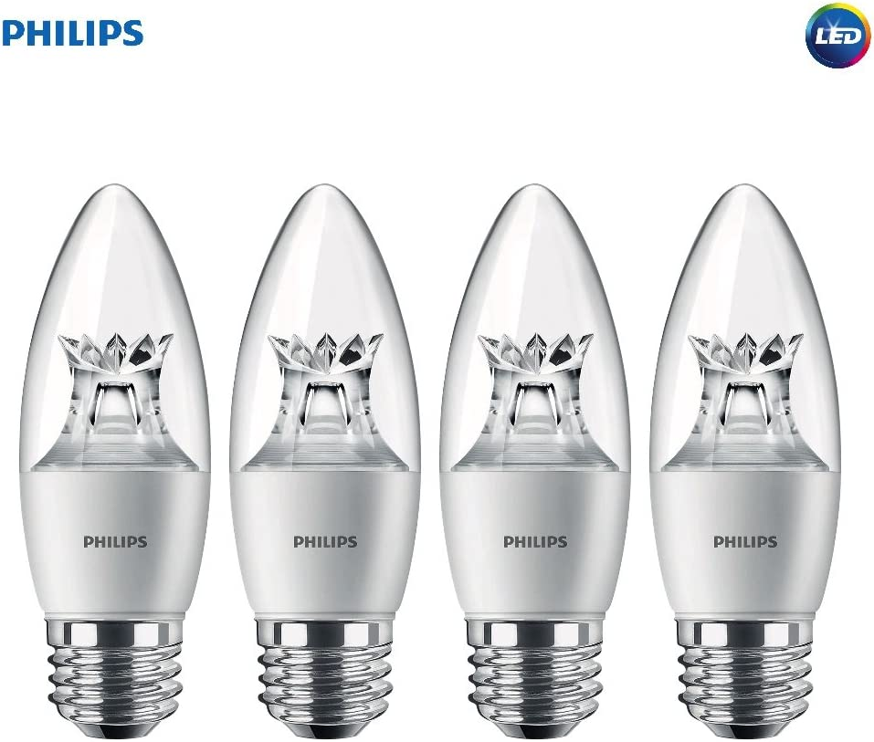 Philips LED Dimmable B12 Soft White Light Bulb with Warm Glow Effect 330-Lumen, 2700-2200-Kelvin, 4.5-Watt (40-Watt Equivalent), E26 Base, Clear 4-Pack