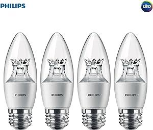 Philips LED Dimmable B12 Soft White Light Bulb with Warm Glow Effect 330-Lumen, 2700-2200-Kelvin, 4.5-Watt (40-Watt Equivalent), E26 Base, Clear 4-Pack