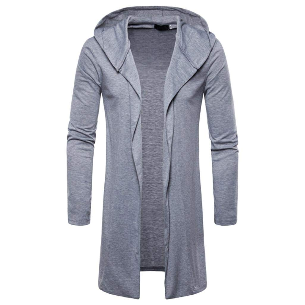 iZHH Mens Hooded Outwear Blouse Solid Trench Coat Jacket Cardigan Long Sleeve(Gray,US-L)