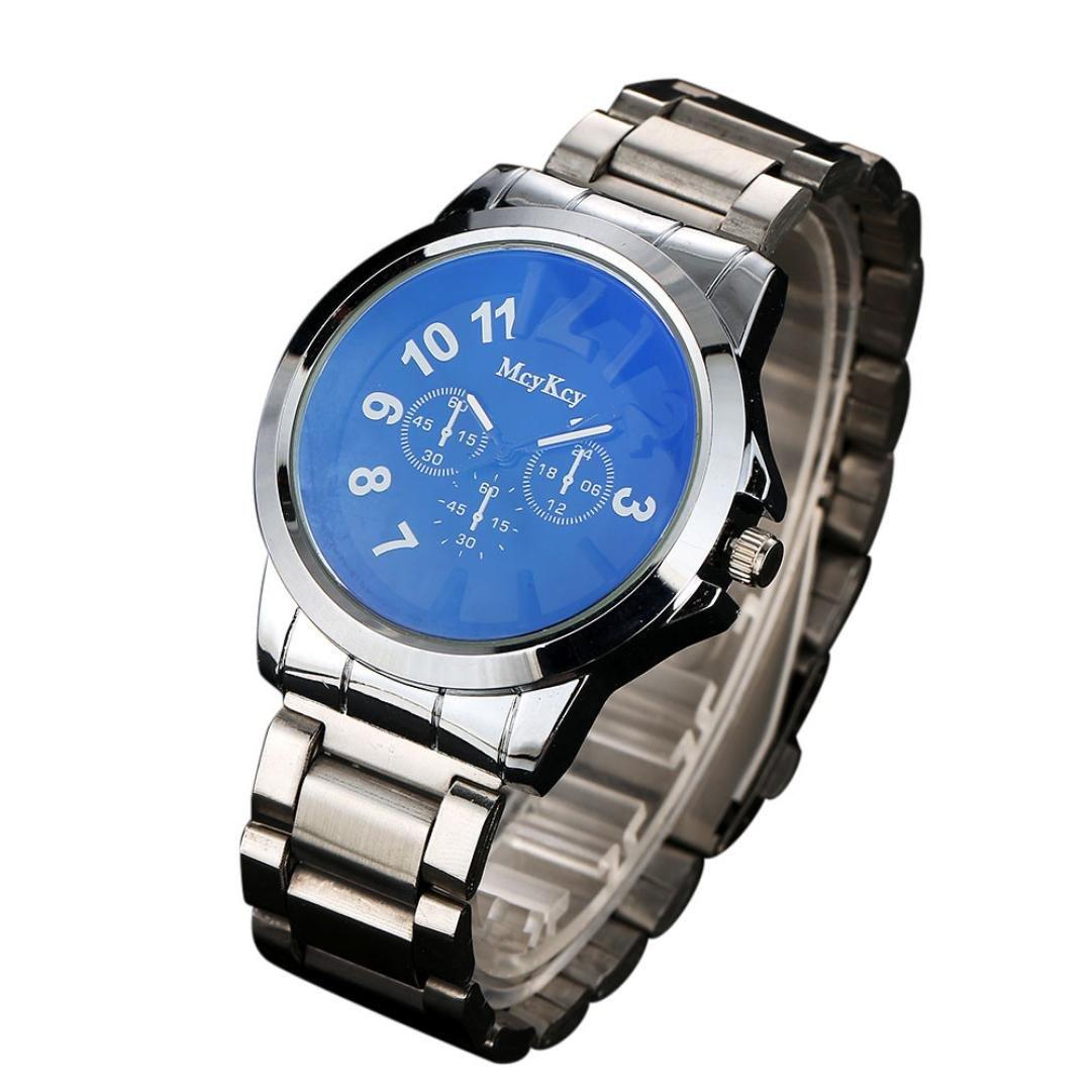 SinmaシックWatchesオスシンプルカジュアル腕時計アナログクォーツブレスレット腕時計for mcykcy ブルー B071V8FRW2ブルー