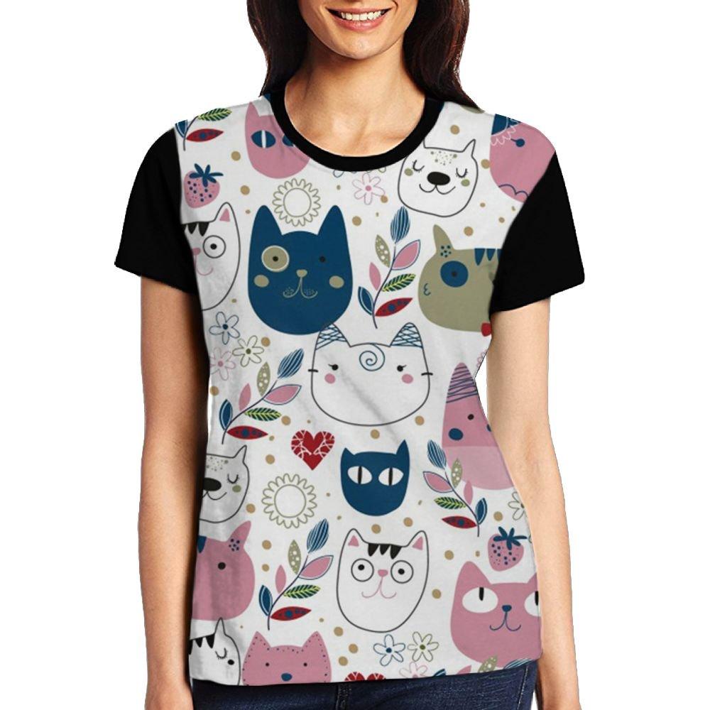 CKS DA WUQ Fuck Cats Face Women's Raglan T-Shirt Popular Sport Baseball Tees Tops Undershirts by CKS DA WUQ