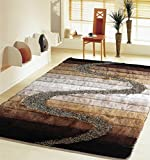 Sleek Hand Tufted Area Rug With Vibrant Shades Of Brown Beige And Silver Featuring A Contemporary Design And A Plush Pile Height Exact Size 4 Feet By 5 Feet 4 Inches 4×6(Svd)S10Brown Review