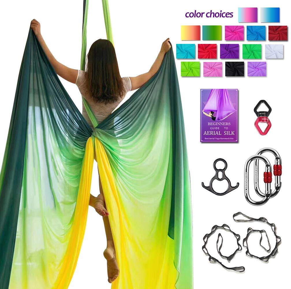 Aerial Silks Deluxe Equipment Set for Aerial Yoga, Aerial Yoga Hammock, Aerial Acrobatic,Circus Arts, Aerial Dance(L:10m W:2.8m (Gradual Change Yellow)