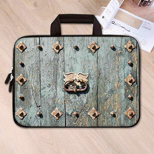 - Rustic Anti Seismic Neoprene Laptop Bag,European Cathedral with Rusty Old Door Knocker Gothic Medieval Times Spanish Style Decorative for Travel Office School,15.4''L x 11''W x 0.8''H