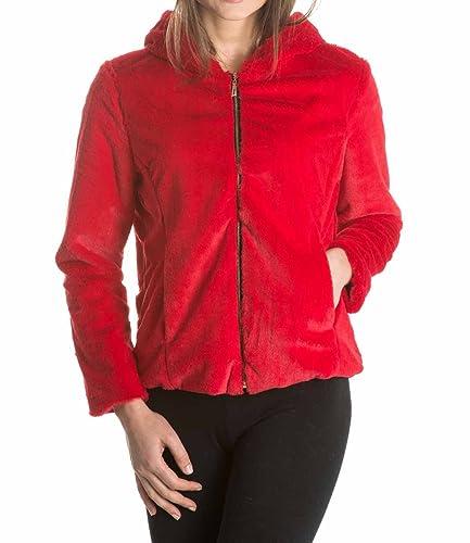Laura Moretti – Abrigo corto de pelo con capucha color rojo