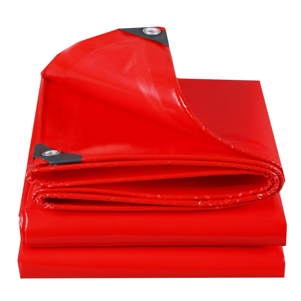 CHAOXIANG ターポリン 防水 日焼け止め リノリウム 厚い 防雨布 キャノピー 折りたたみ可能 耐摩耗性 PVC, 500G/㎡, 17サイズ (色 : Red, サイズ さいず : 4x6m) B07FXK46W5 4x6m|Red Red 4x6m