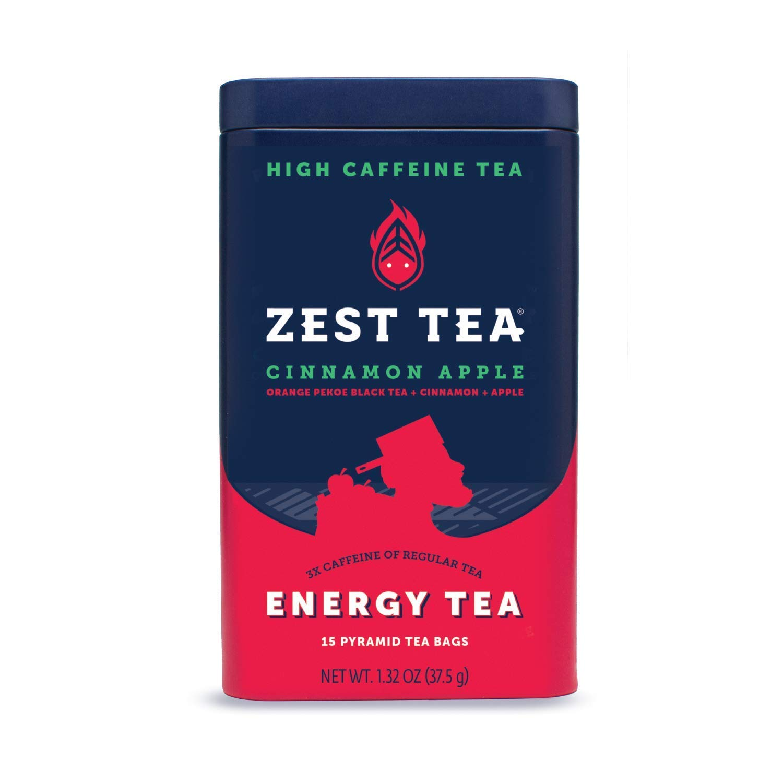 Zest Tea Premium Energy Hot Tea, High Caffeine Blend Natural & Healthy Traditional Coffee Substitute, Perfect for Keto, 150 mg Caffeine per Serving, Apple Cinnamon Black Tea, Tin of 15 Sachet Bags