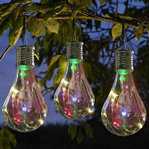 Sun·Light Waterproof Solar Rotatable Outdoor Garden Camping Hanging LED Light Lamp Bulb-Multicolour Light-Solar Panels