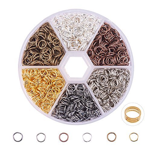 - PandaHall Elite About 1800 Pcs Iron Open Jump Rings Unsoldered Diameter 6mm Wire 21-Gauge 6 Colors for Jewelry Findings