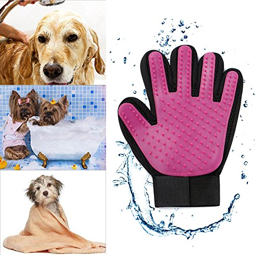 Zlimio Pet Dog Grooming Cleaning Glove Deshedding Left Handed Hair Removal Massage Brush, Perfect for Dogs & Cats with Long & Short Fur-By