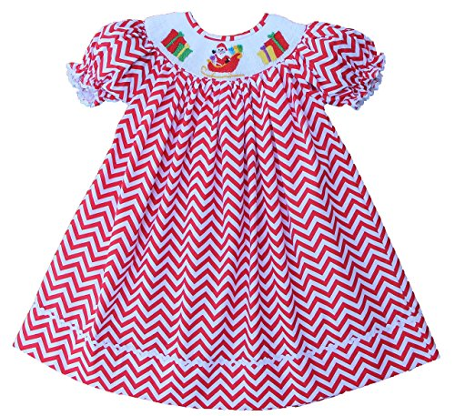 (Babeeni Little Girls Smocked Santa Claus Holiday Bishop Dress (12M))