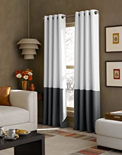 kendall color block grommet curtain panel 95 inch white dark grey